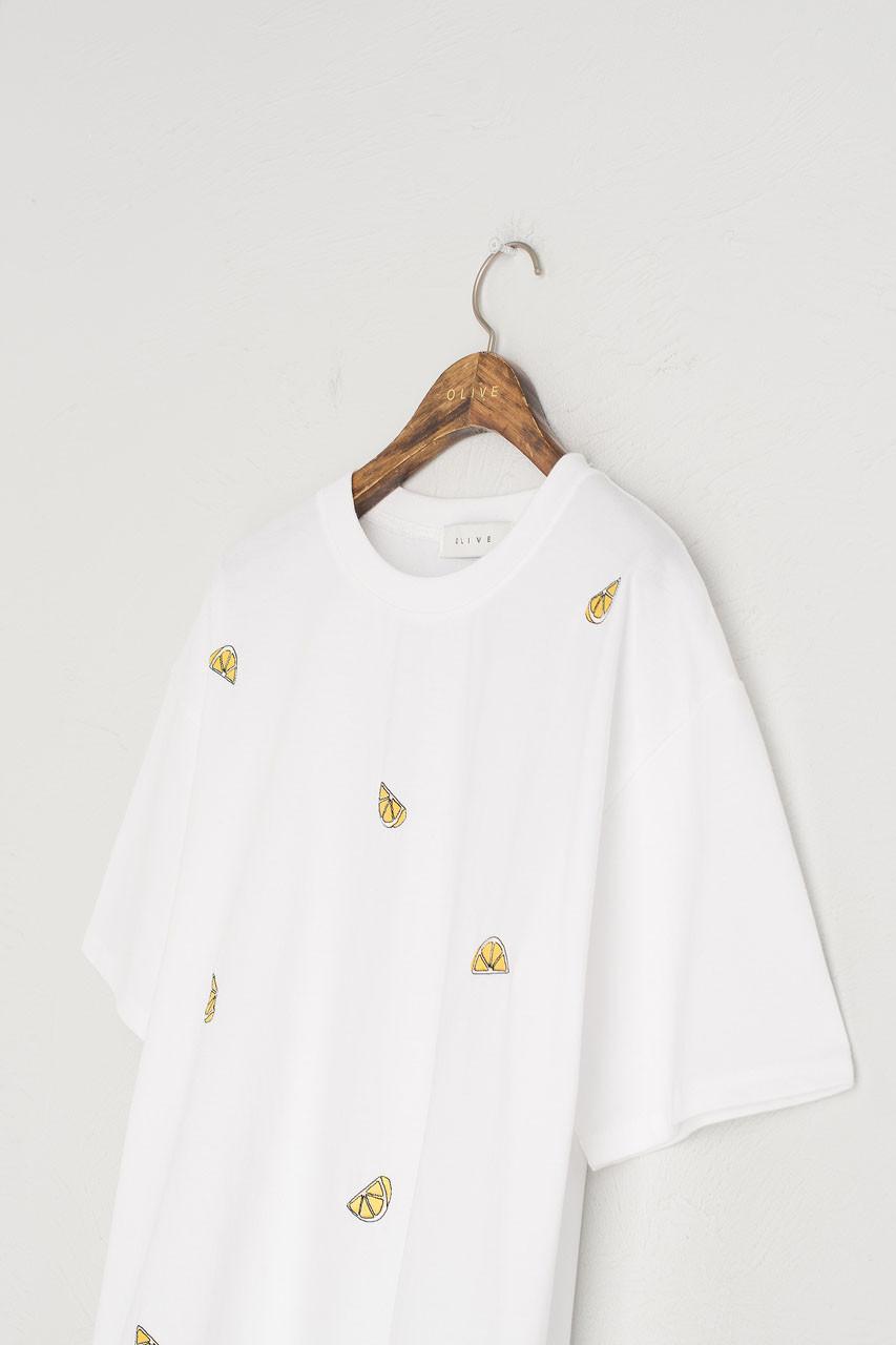 Lemon Stitch Short Sleeve Tee, White