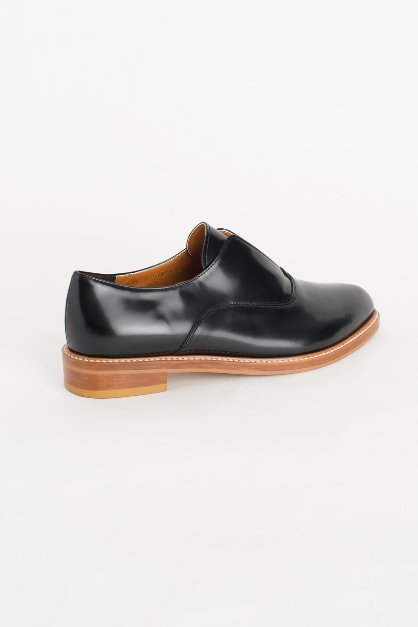 Slip-on Pointed Oxford Shoes, Black