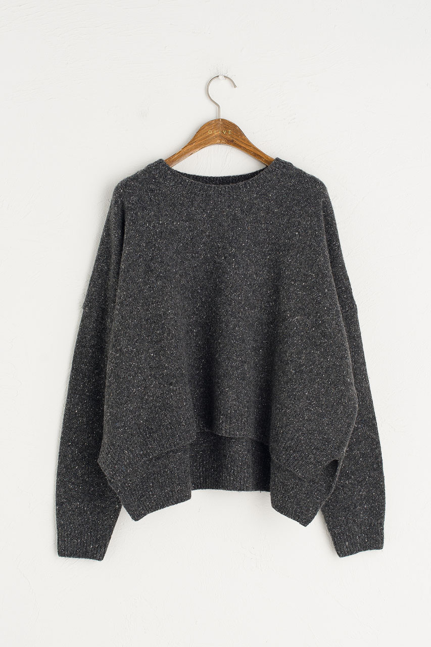 Boucle Round Neck Jumper, Charcoal