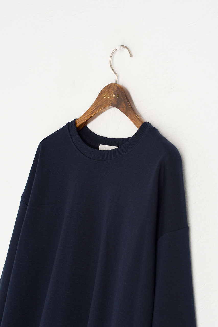 Flower Embroidered Sleeve Sweatshirt, Navy