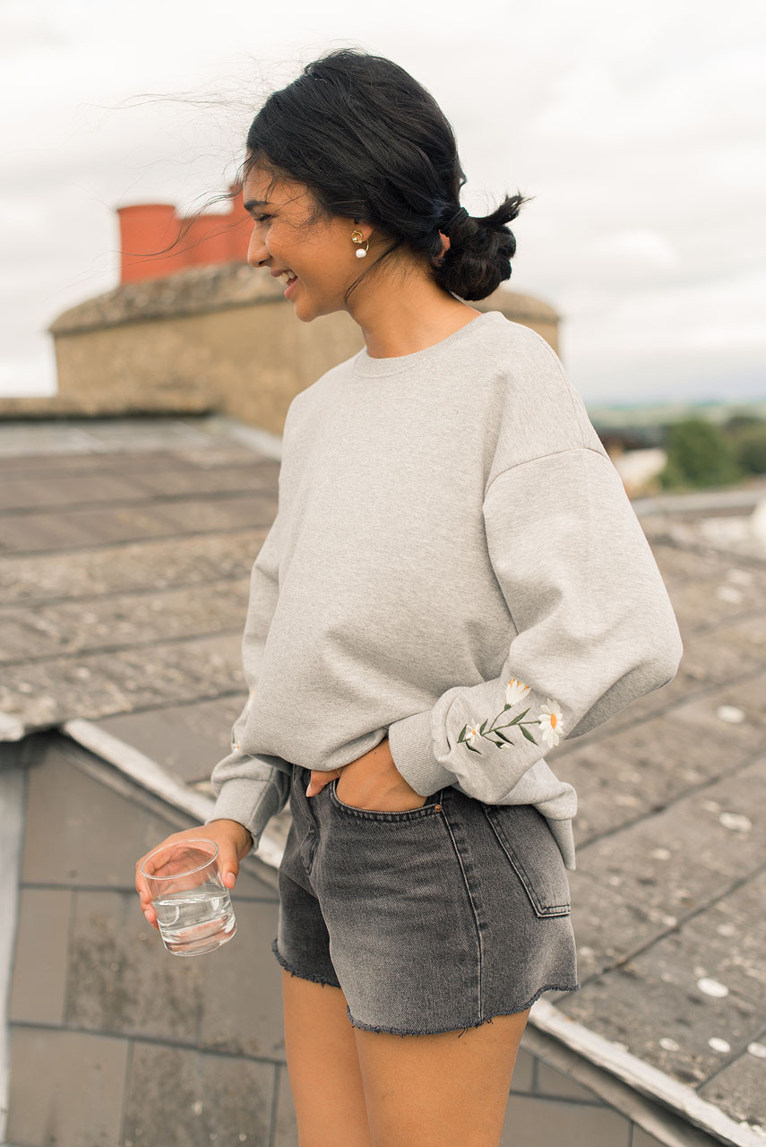 Flower Embroidered Sleeve Sweatshirt, Grey