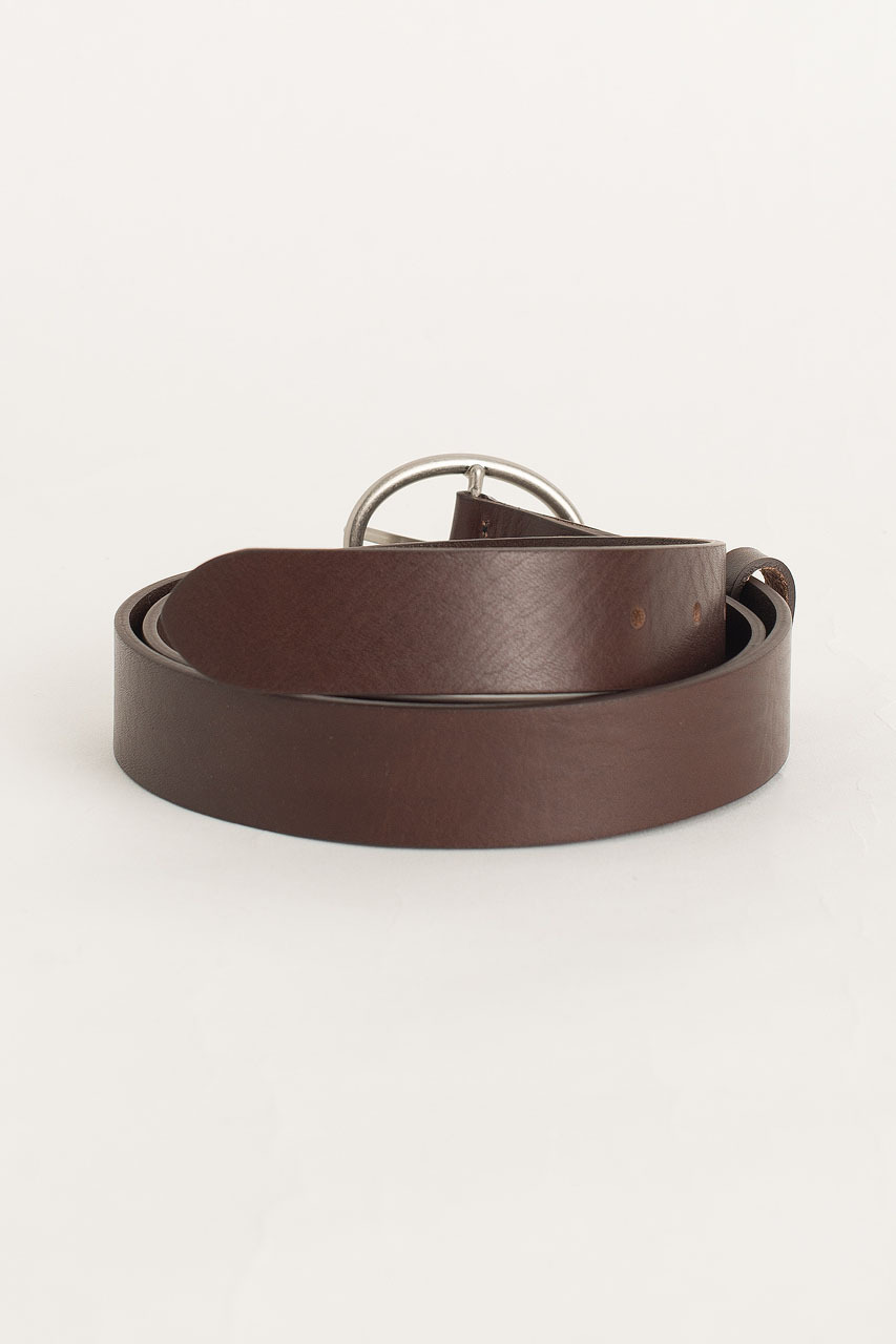 Oval Shape Leather Belt, Brown