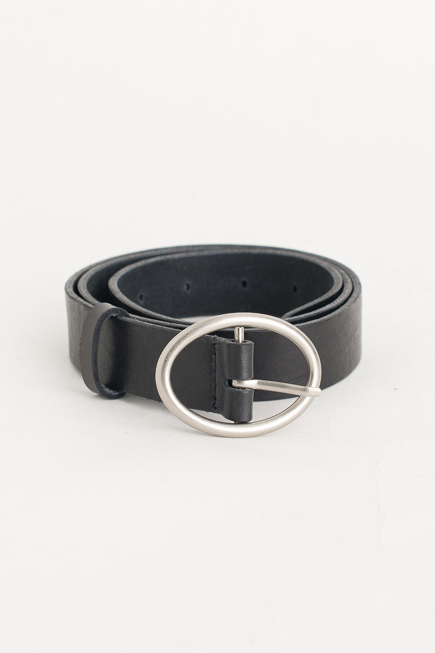 Oval Shape Leather Belt, Black