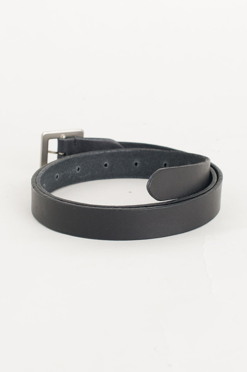 Square Shape Leather Belt, Black