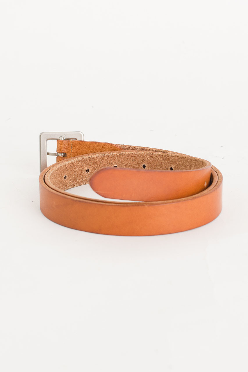 Square Shape Leather Belt, Camel