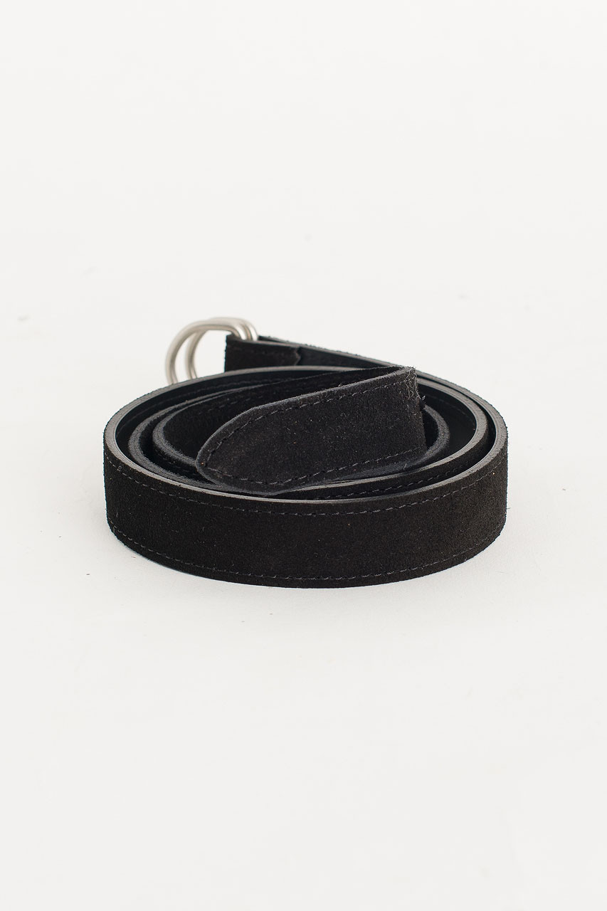 D Ring Suede Belt, Black