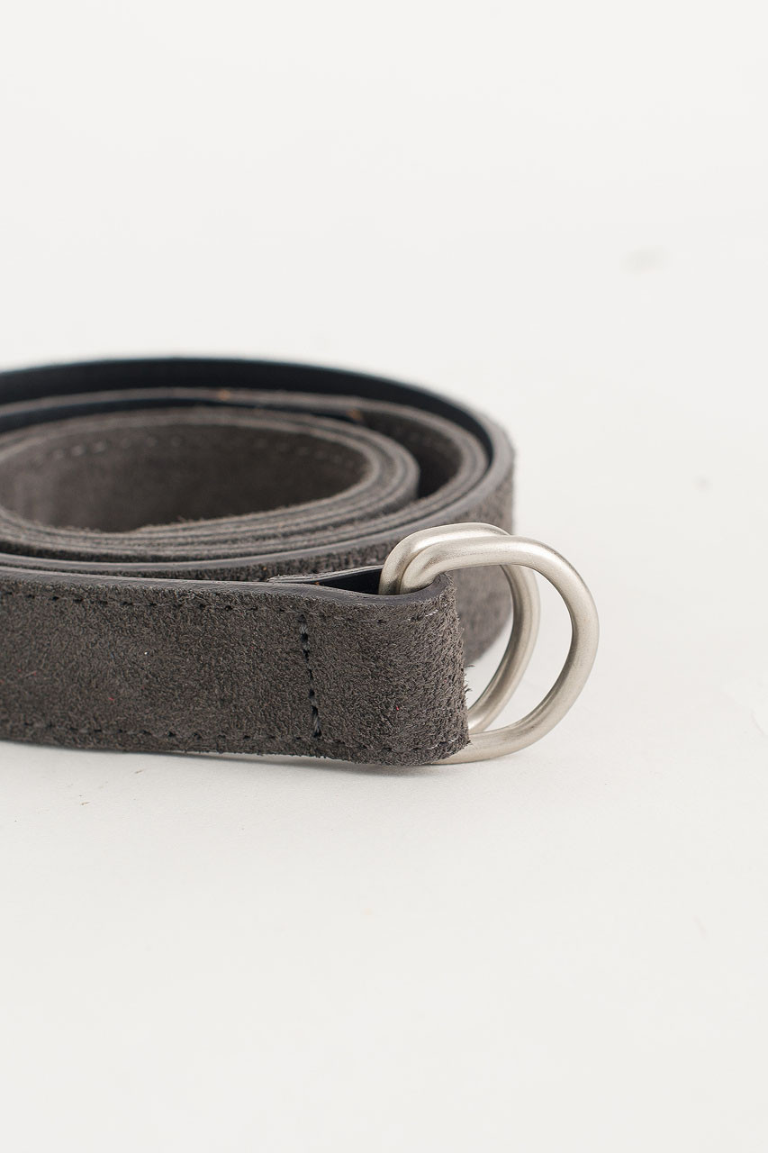 D Ring Suede Belt, Grey