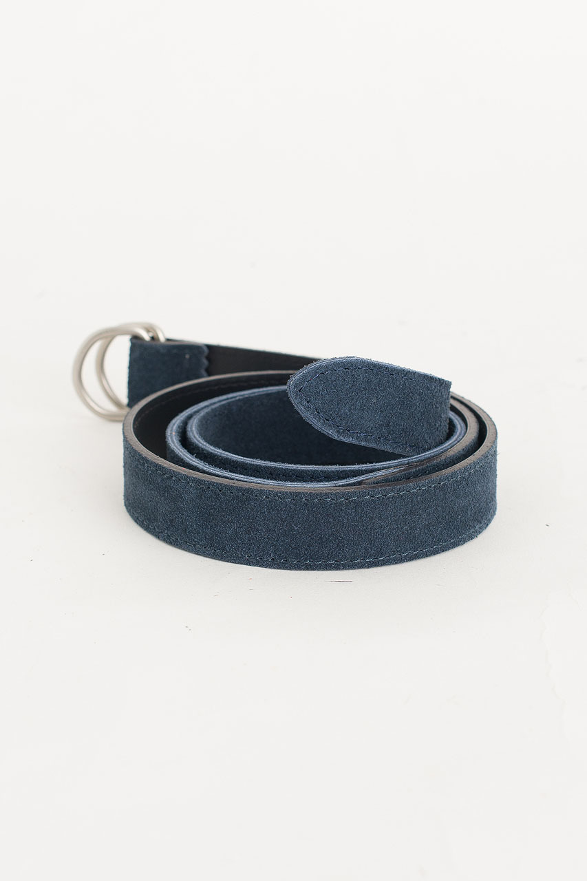 D Ring Suede Belt, Navy