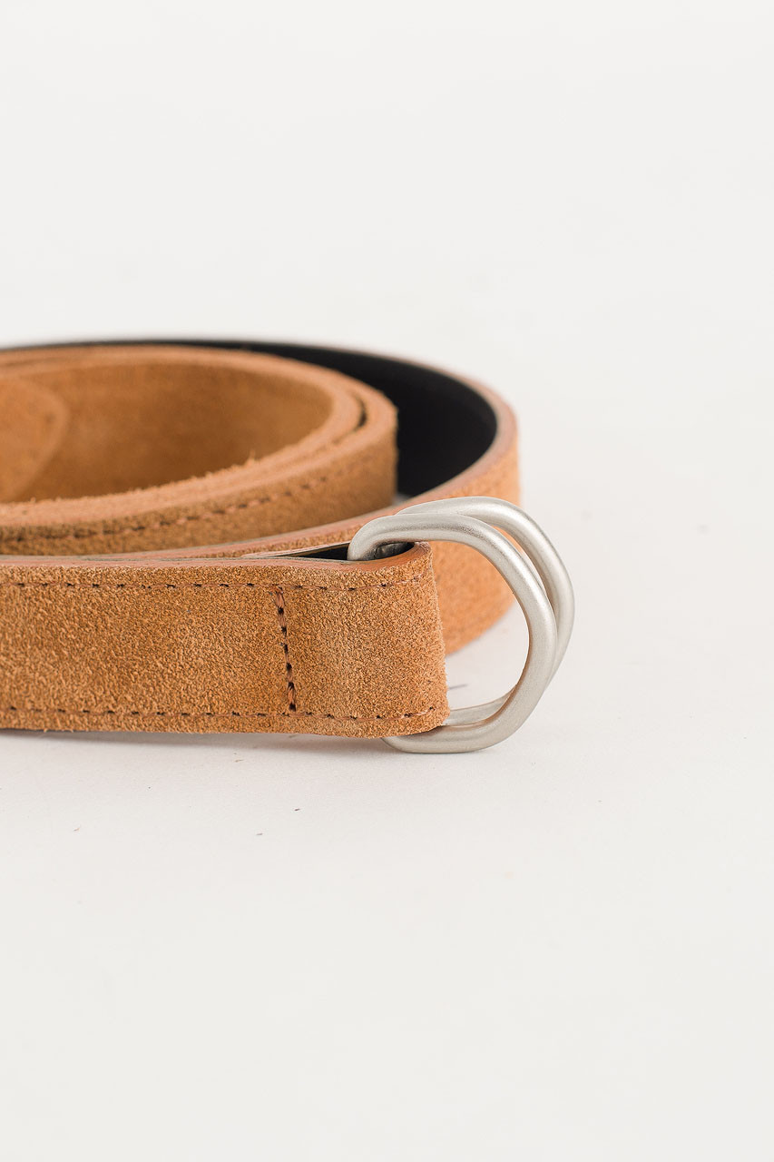 D Ring Suede Belt, Camel