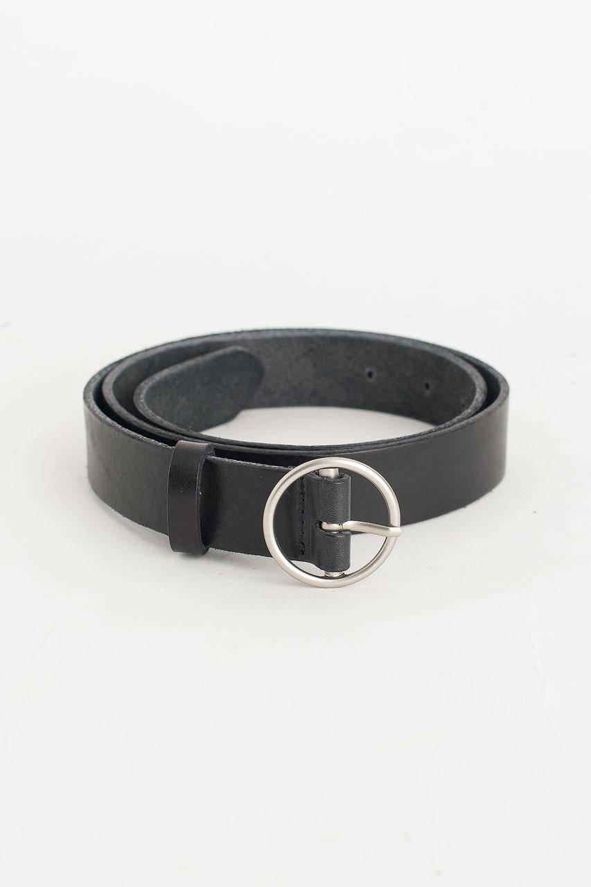 Round Shape Leather Belt, Black