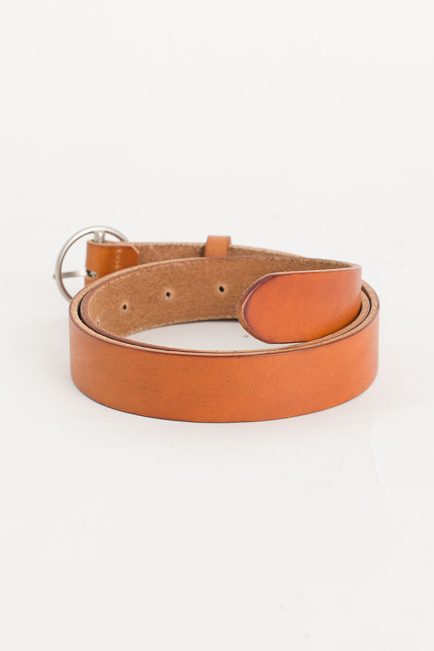 Round Shape Leather Belt, Camel