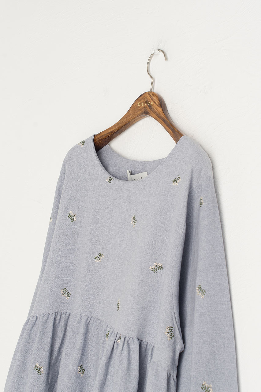 Wildflower Embroidered Cotton Dress, Blue