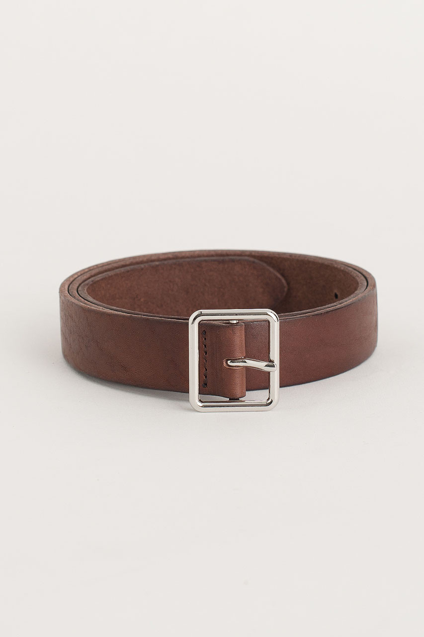 Square Leather Belt, Brown