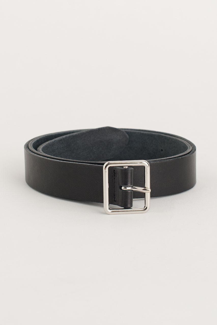 Square Leather Belt, Black
