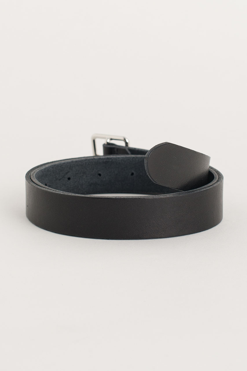Square Leather Belt, Black