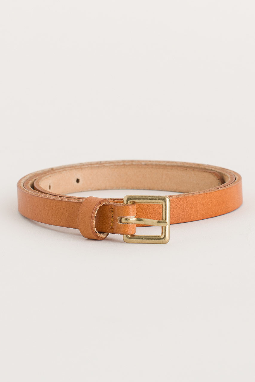 Square Leather Skinny Belt, Camel