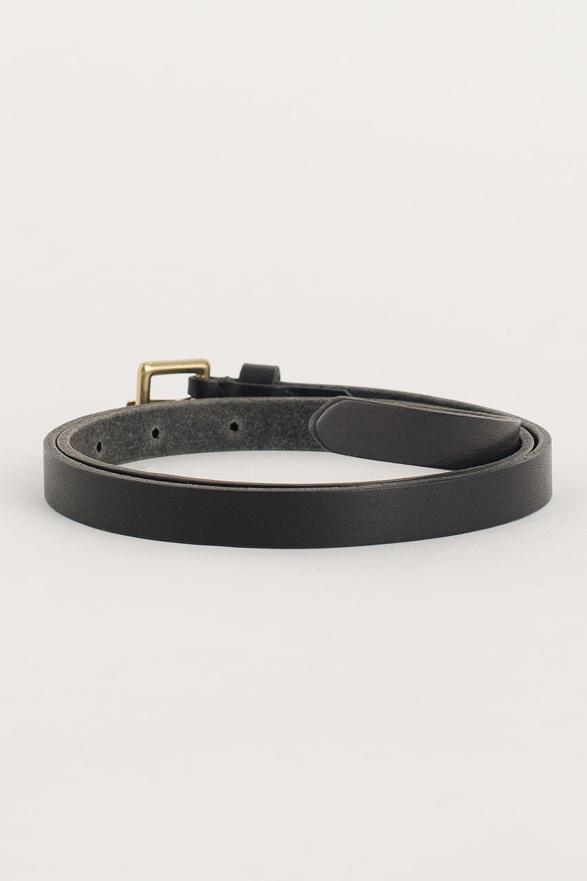 Square Leather Skinny Belt, Black