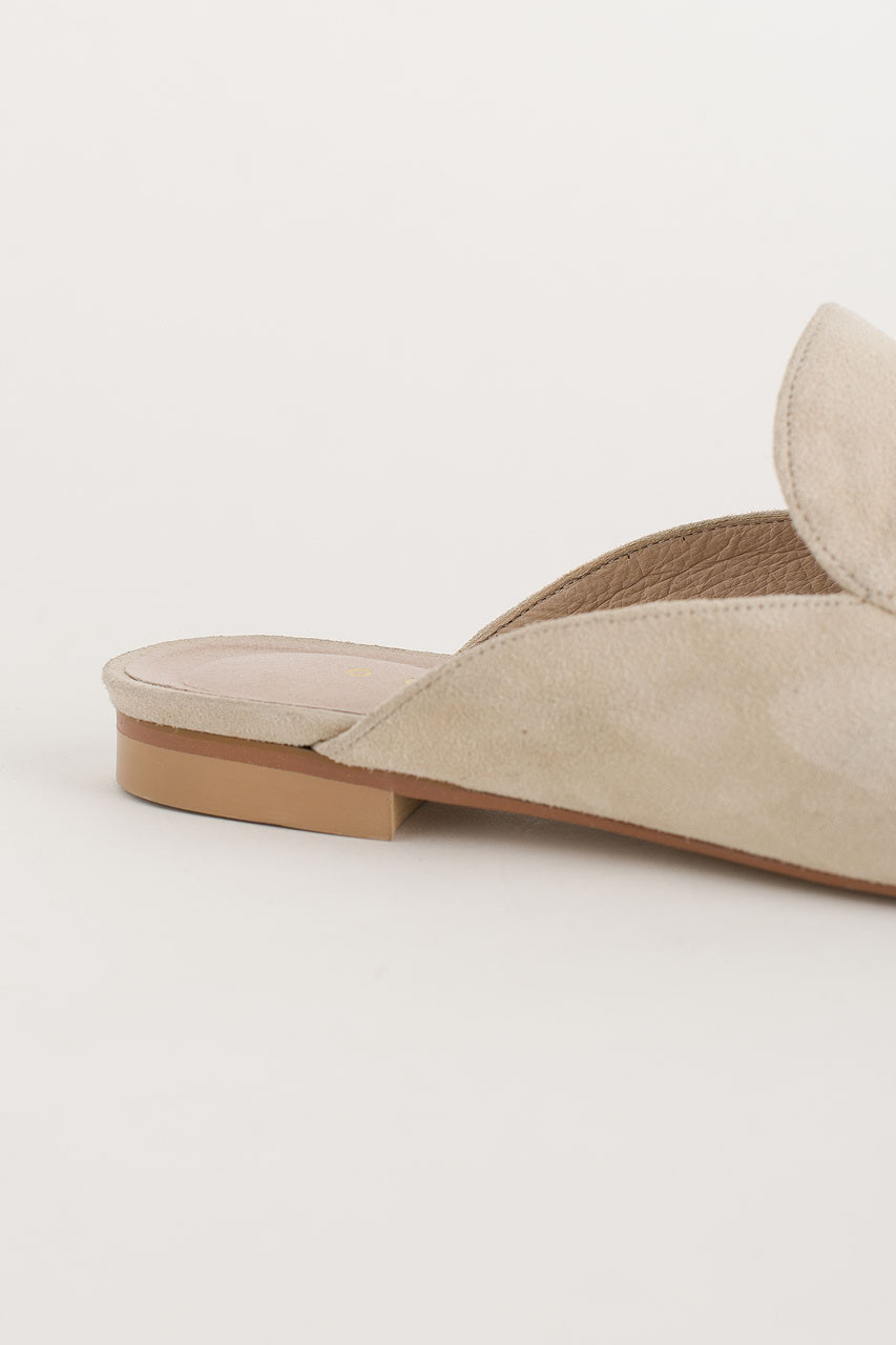 Simple Suede Sliders, Ivory