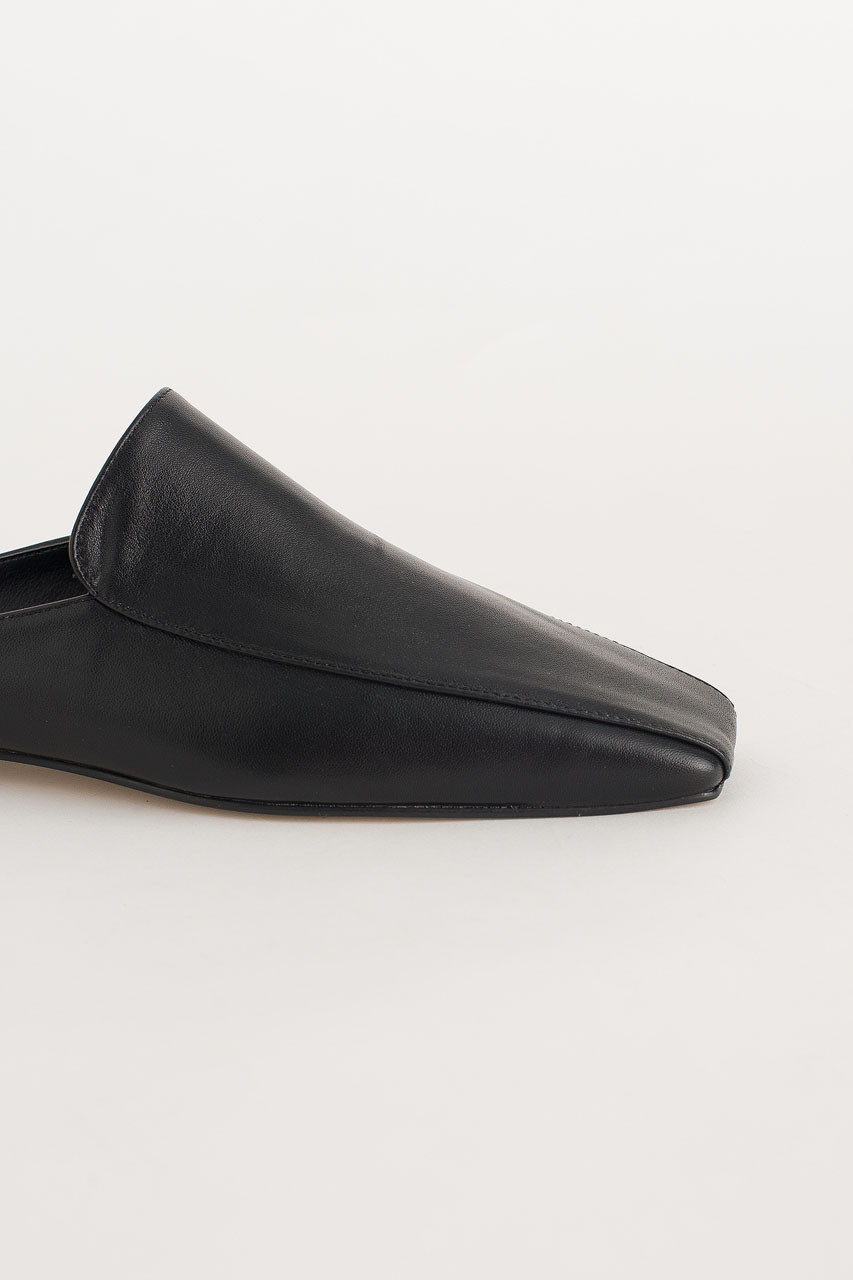 Square Toe Mule, Black