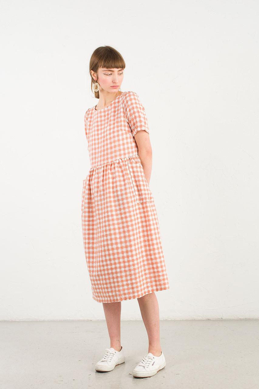 Gingham Check Baby Doll Dress, Sanguinello
