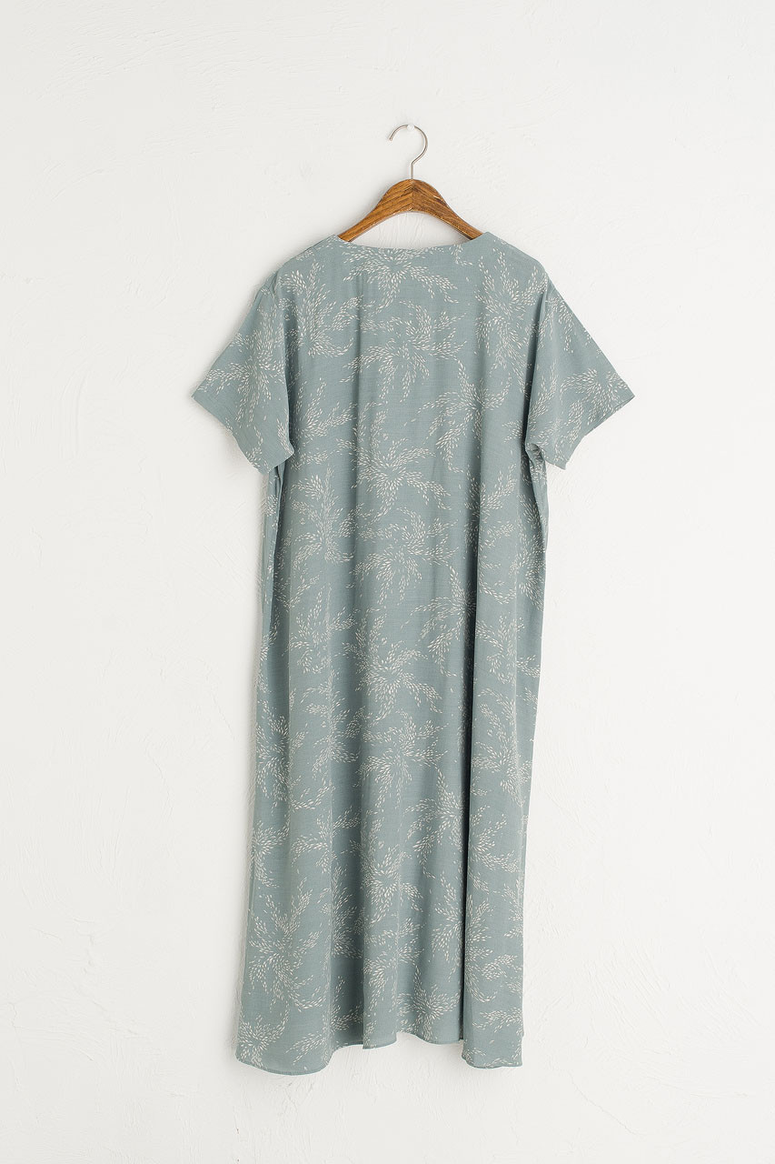 Barley Print Button Down Dress, Mint