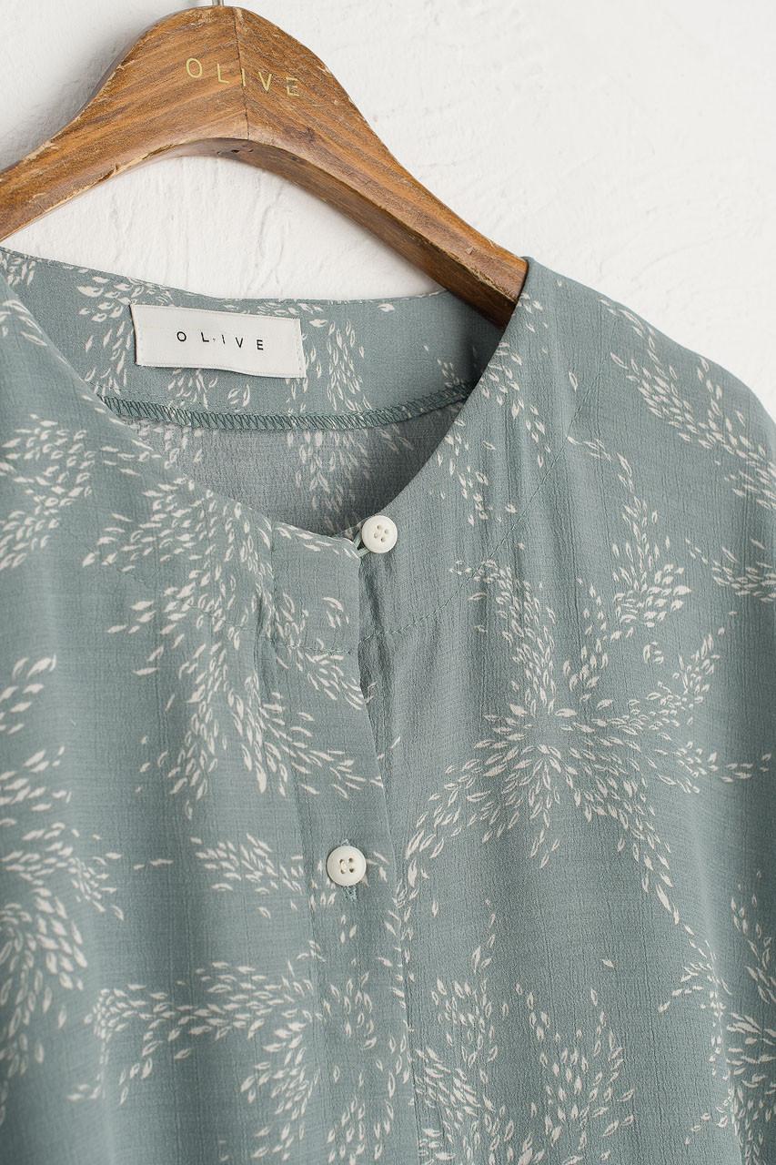 Barley Print Button Down Dress, Mint