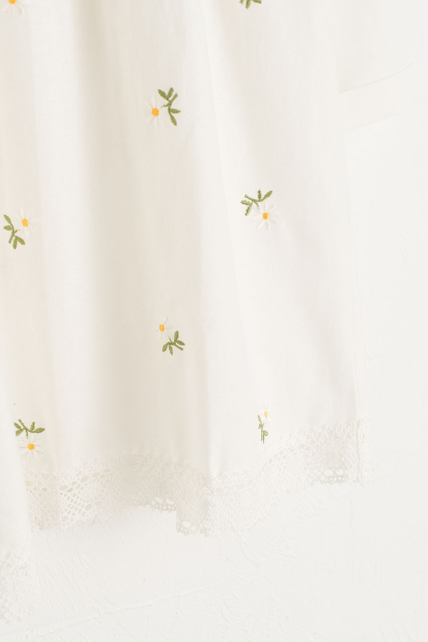 Daisy Embroidered Babydoll Dress, White