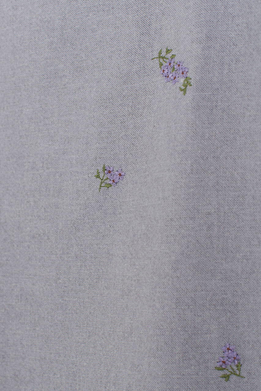 Lavender Embroidered Square Neck Dress, Blue