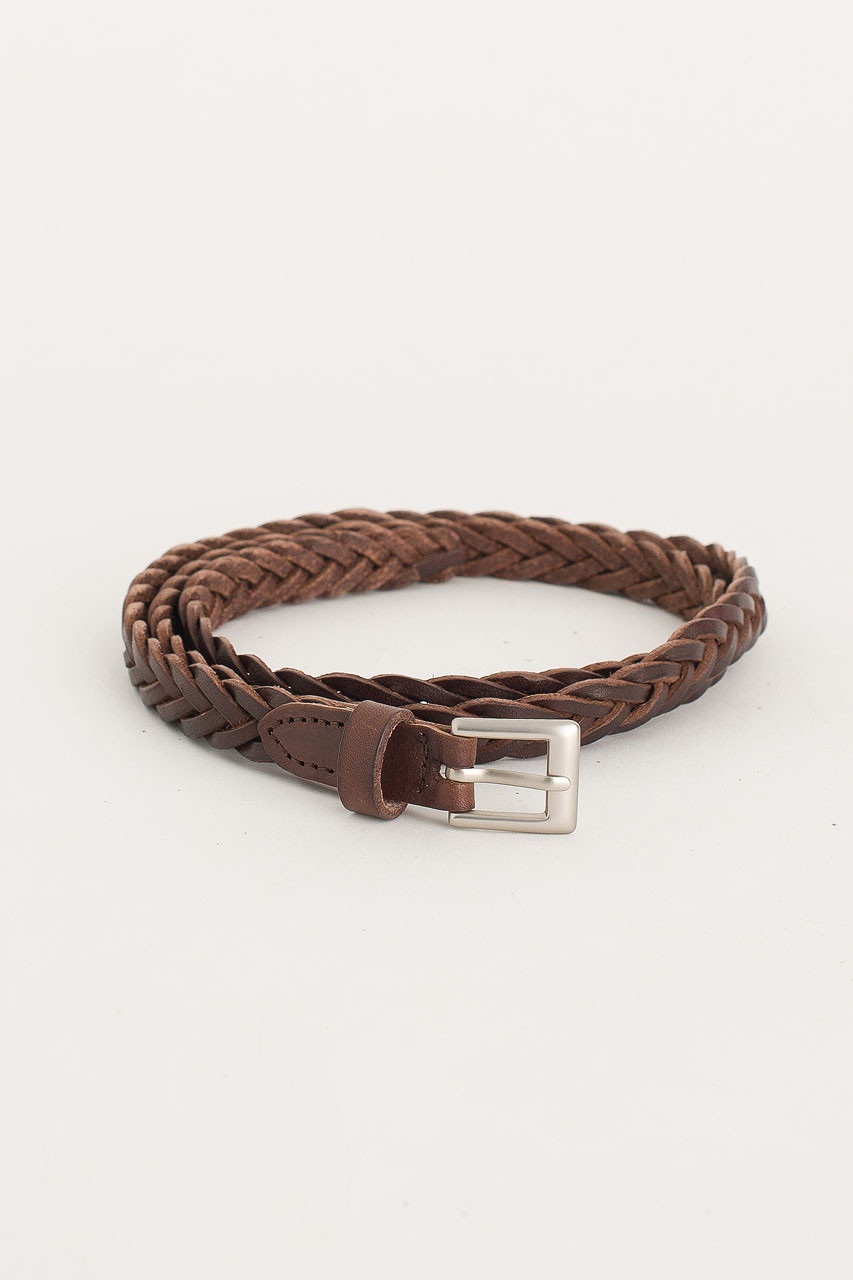 Cable Skinny Belt, Brown