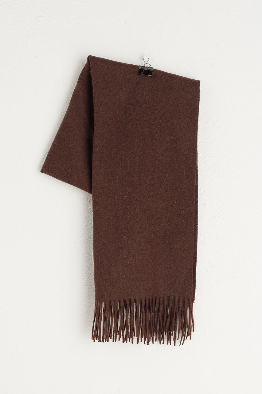 A/W 19 Large Wool Scarf, Brown