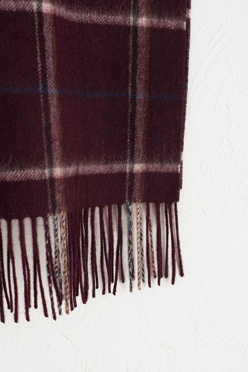 Wide Check Wool Scarf, Wine