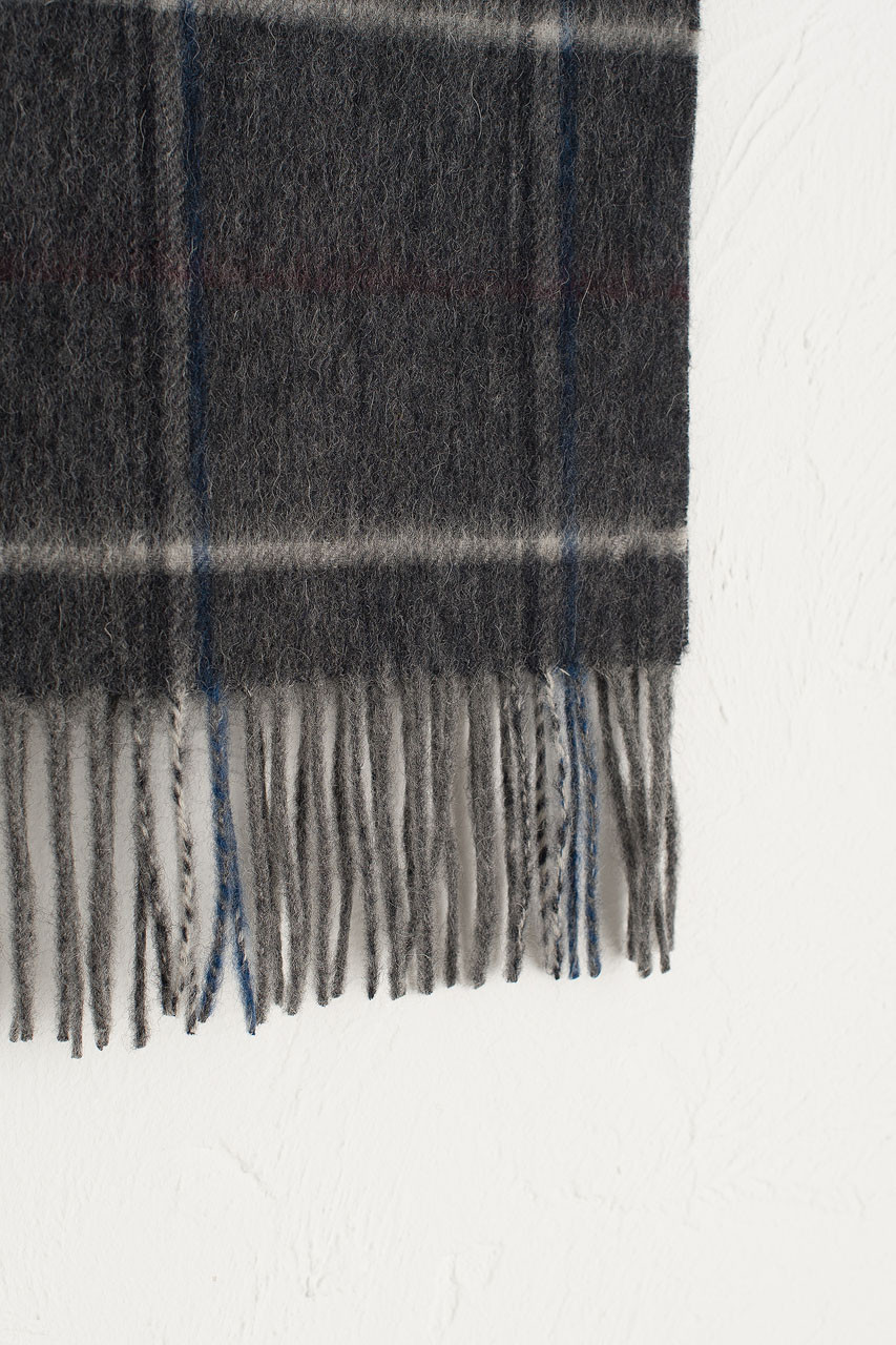 Wide Check Wool Scarf, Black