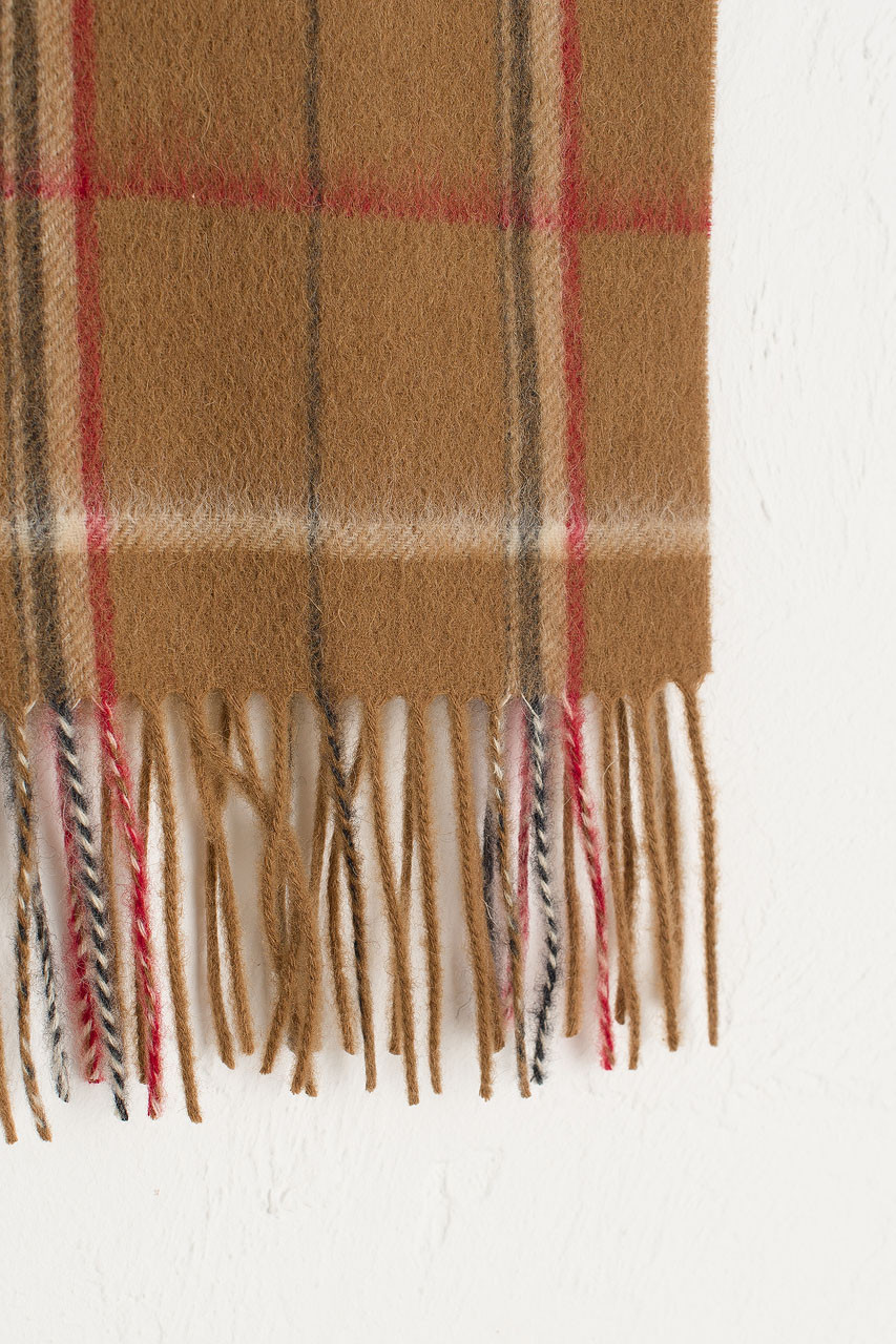 Wide Check Wool Scarf, Camel