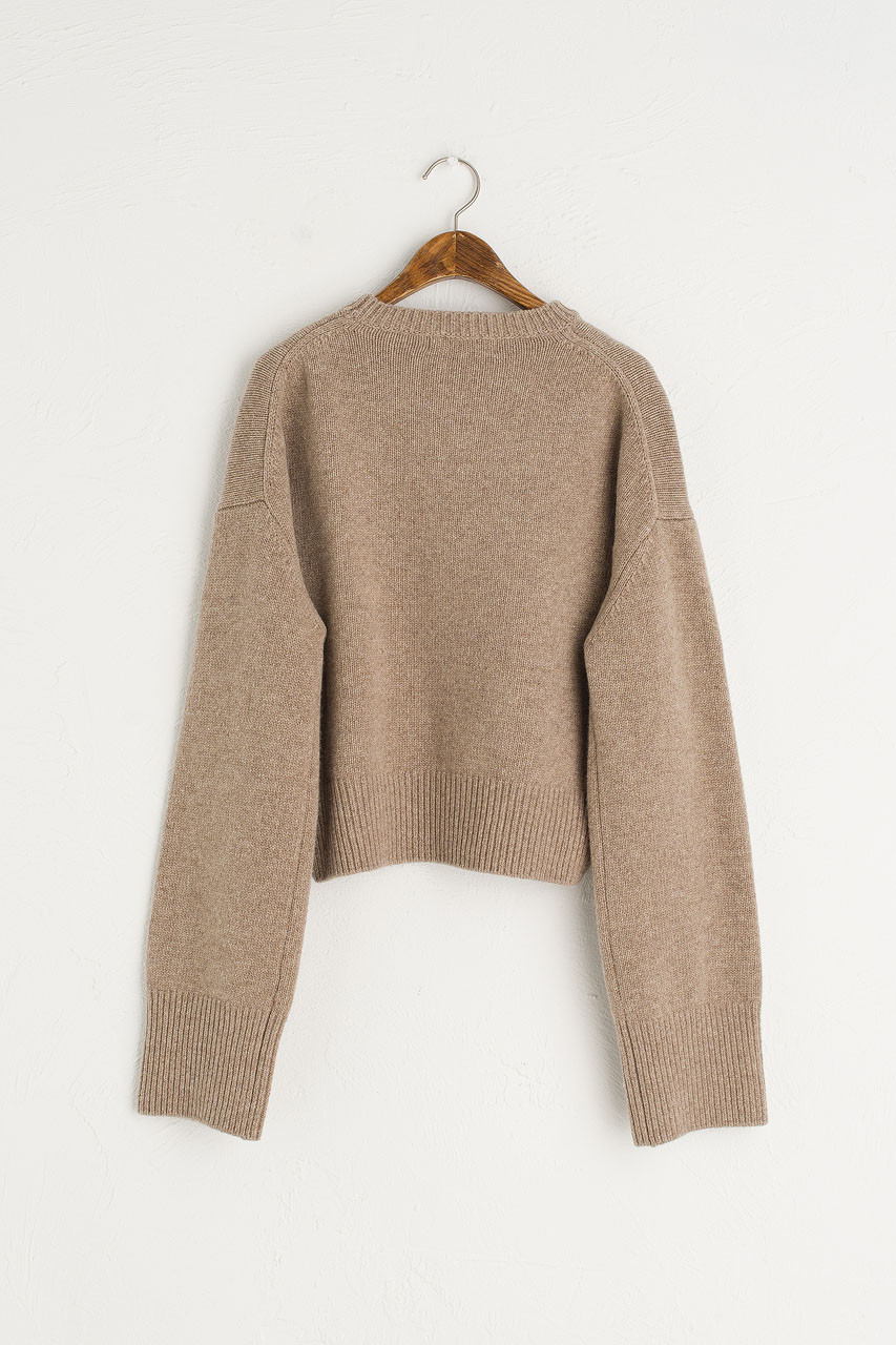 Chunky Simple Cropped Jumper, Brown