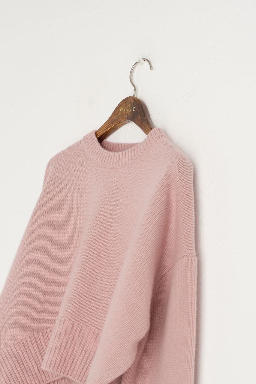 Chunky Simple Cropped Jumper, Pink