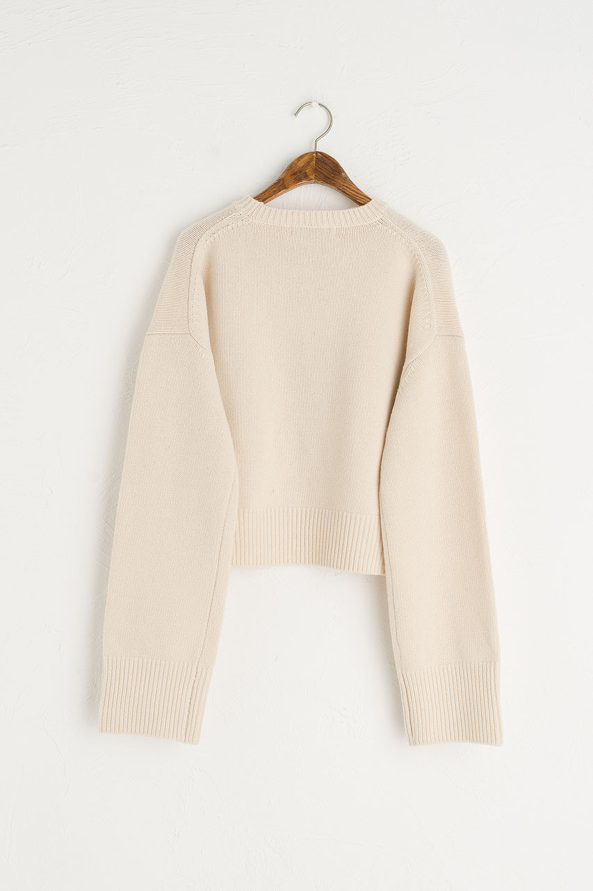 Chunky Simple Cropped Jumper, Ivory