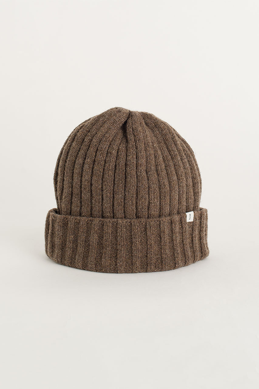 Ribbed Wool Benie, Brown