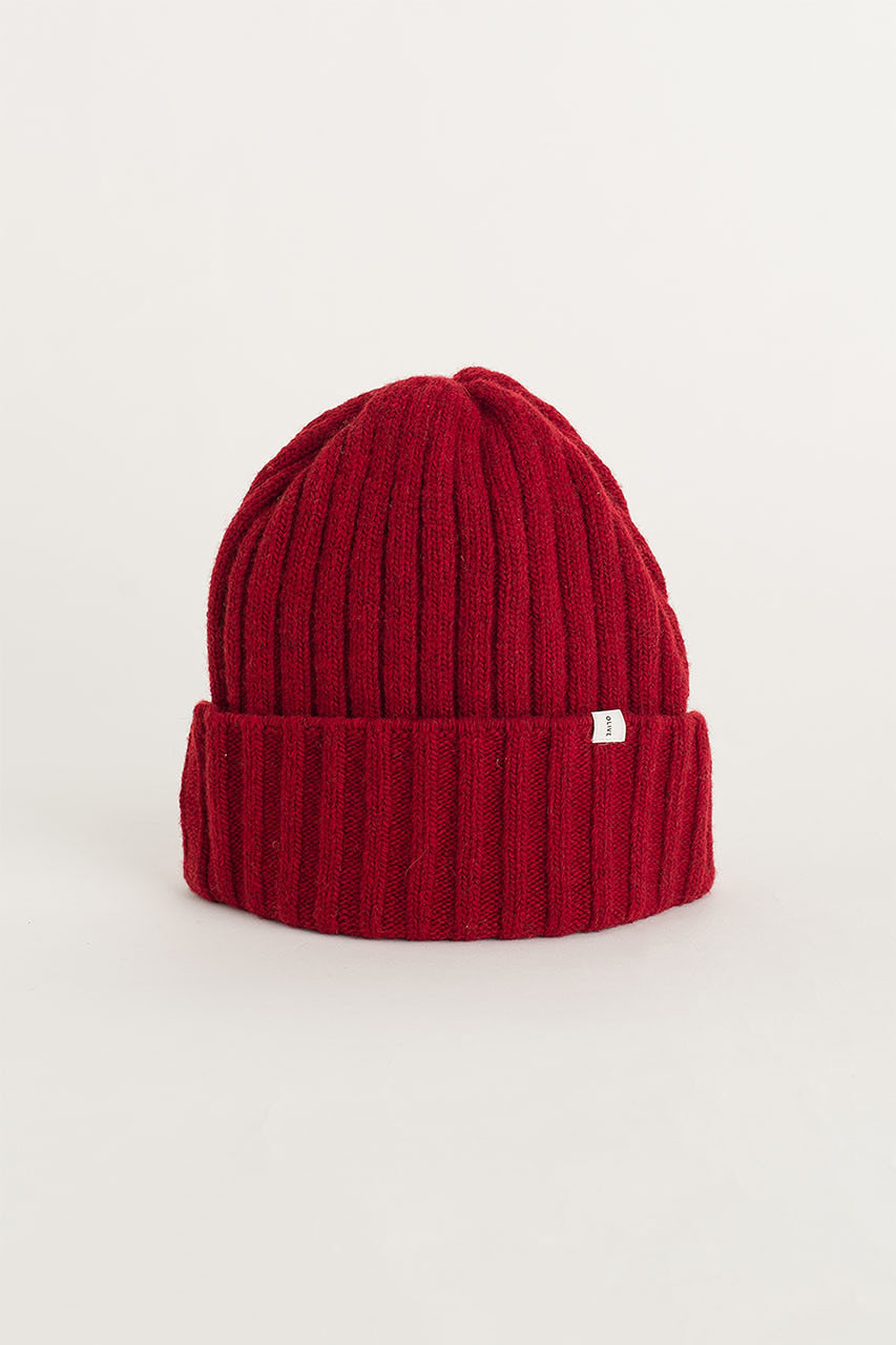 Ribbed Wool Benie, Red