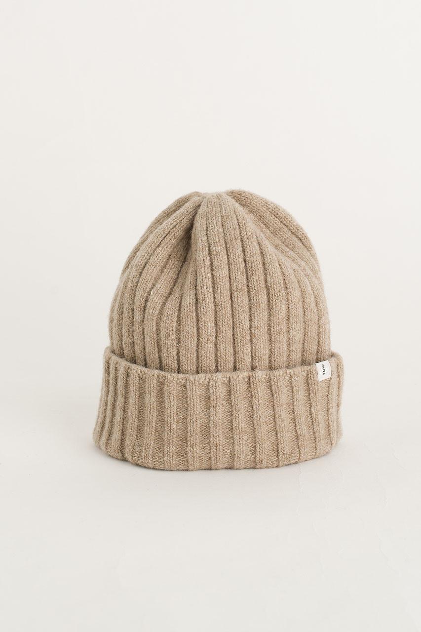 Ribbed Wool Benie, Beige