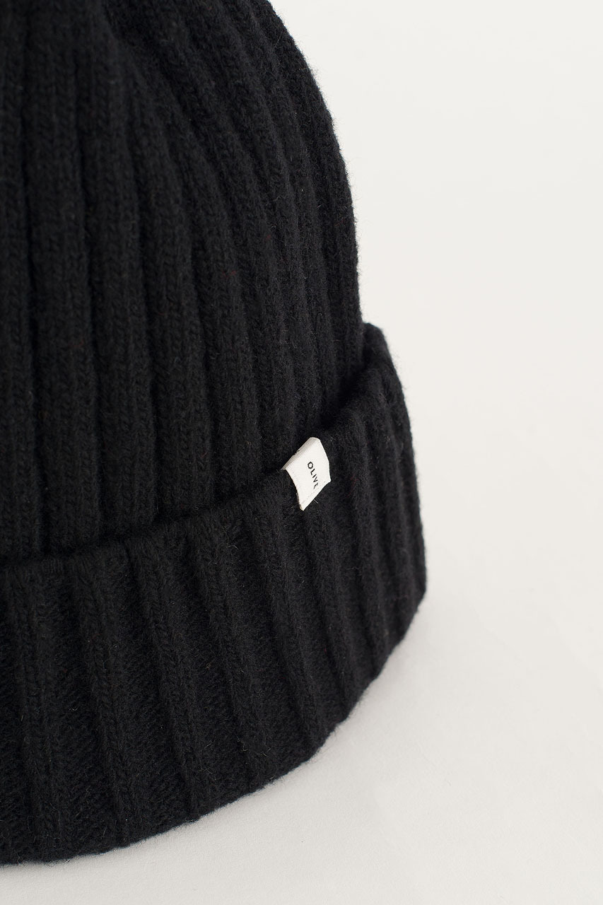 Ribbed Wool Benie, Black