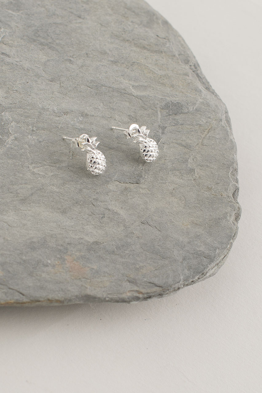 Pineapple Stud, Silver Plated