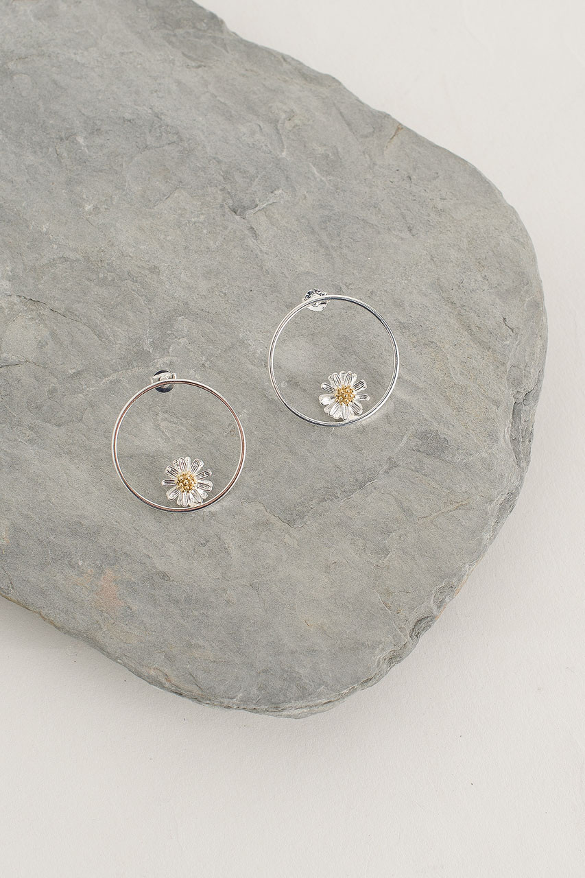 Daisy Hoop Earrings, Silver Plated