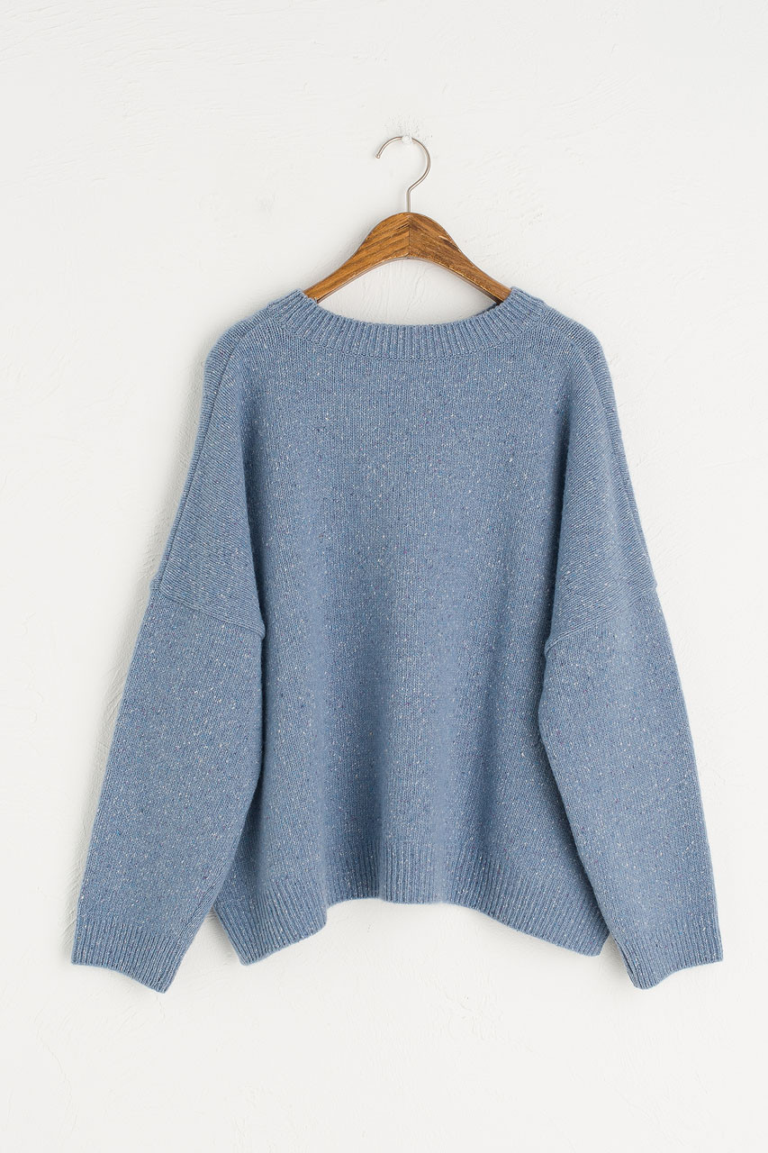 Boucle Round Neck Jumper, Ice Berg