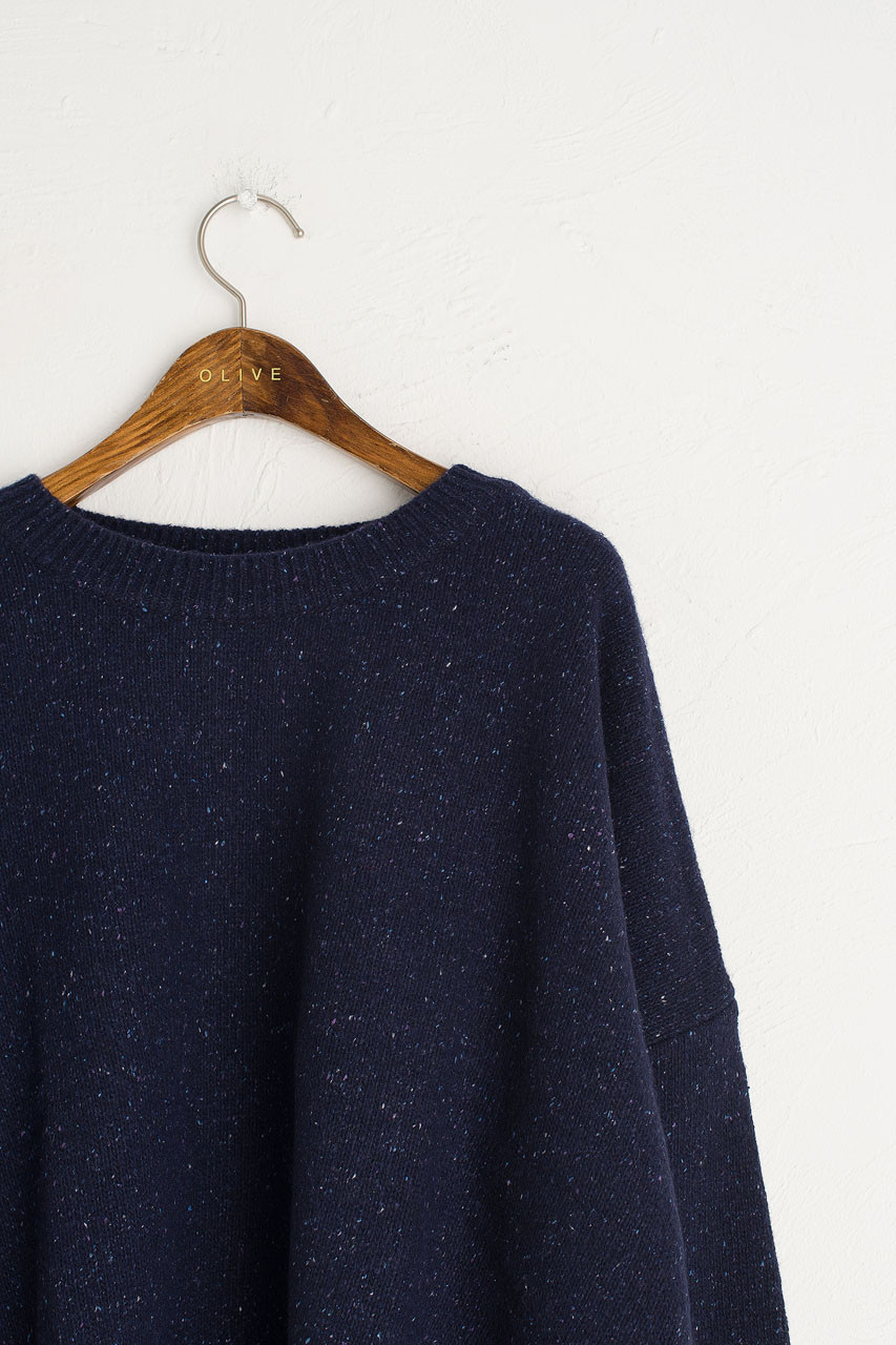 Boucle Round Neck Jumper, M.Navy