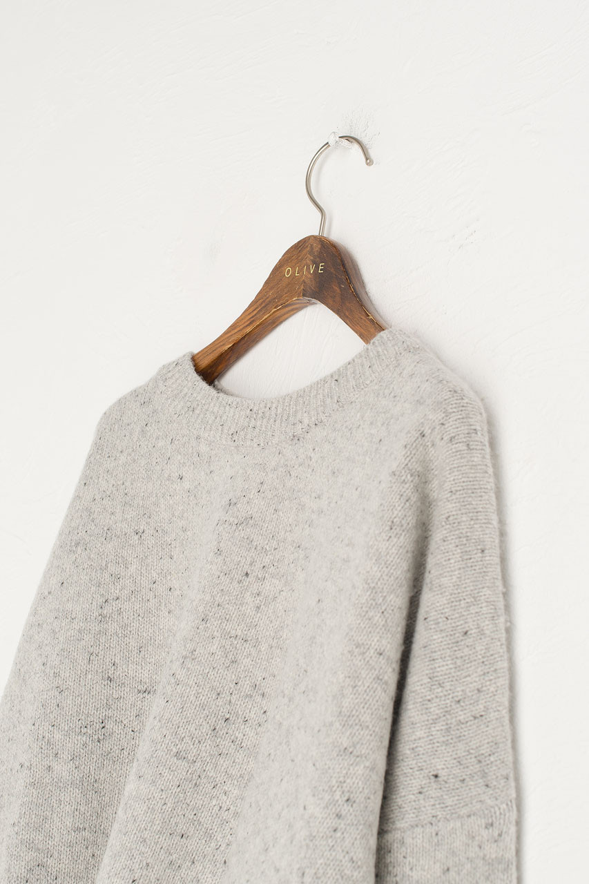 Boucle Round Neck Jumper, L.Grey
