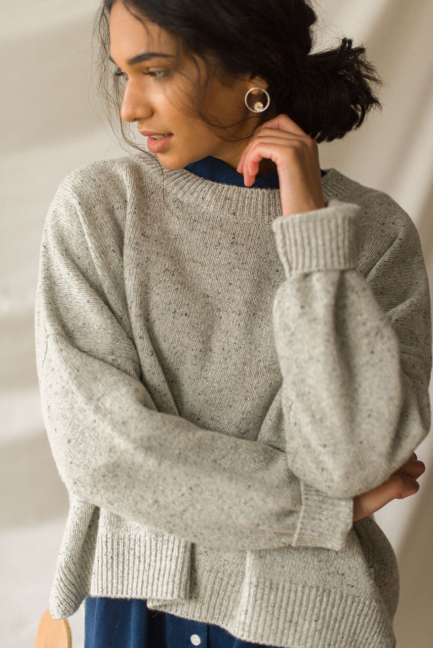 Boucle Round Neck Jumper, Light Grey