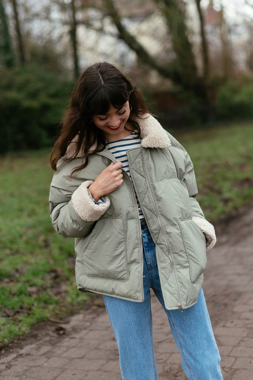 Oversized Puffer Jacket, Mint
