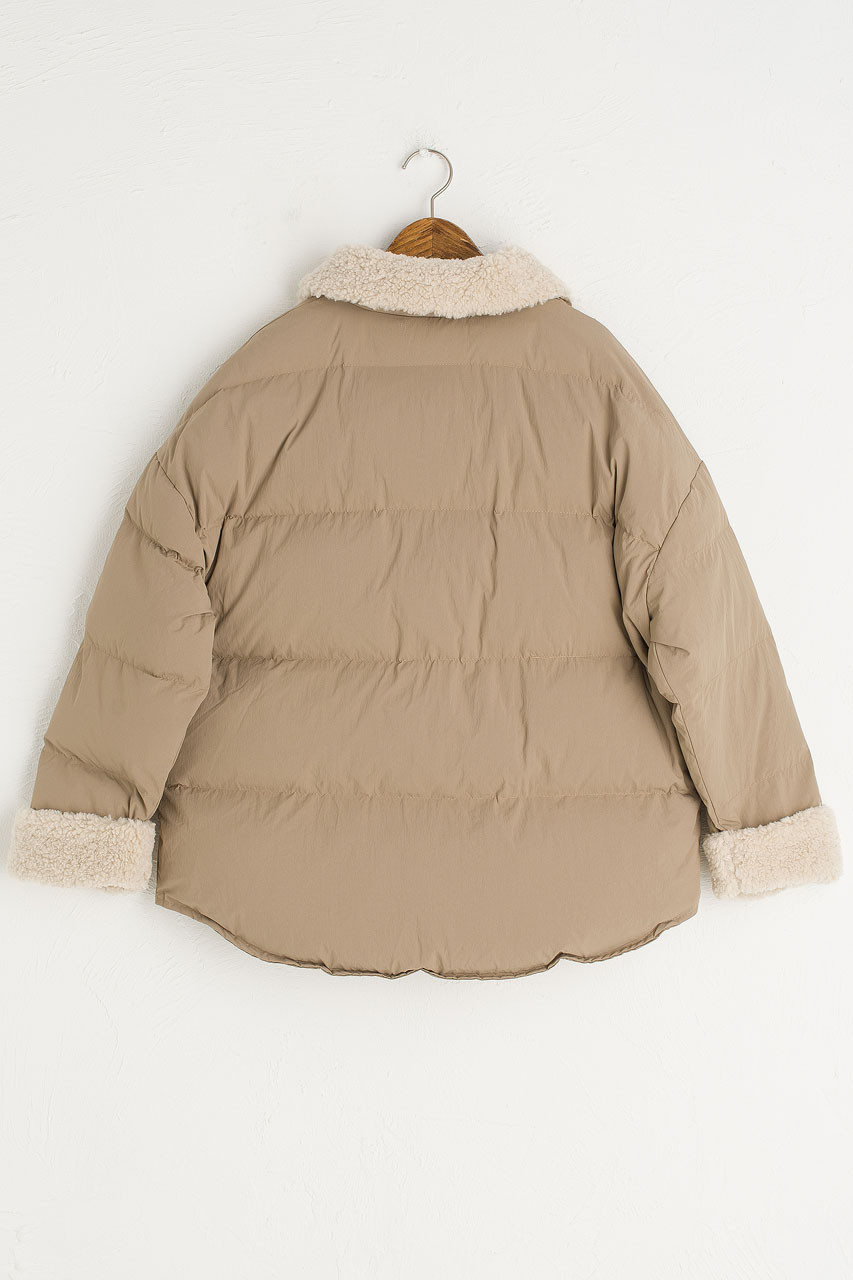 Oversize Puffer Jacket, Beige