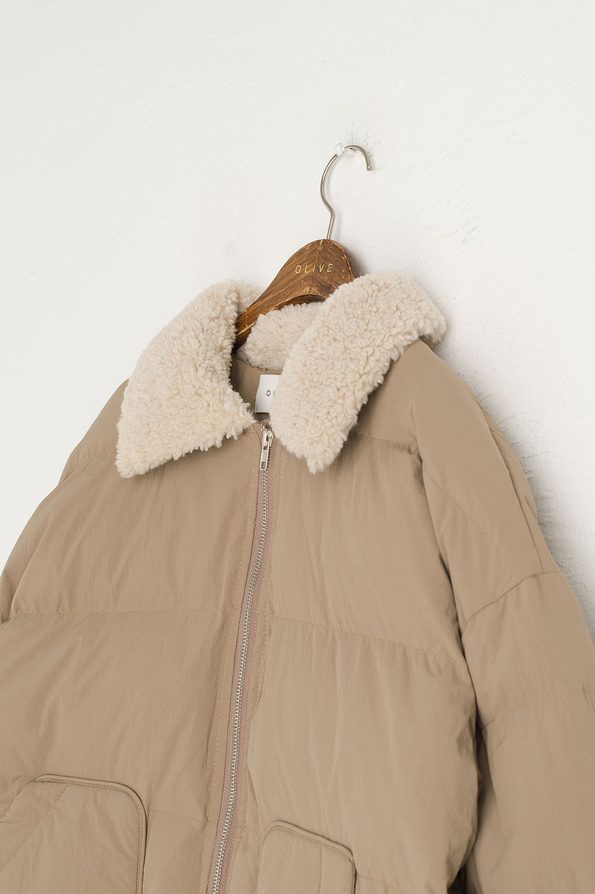 Oversize Puffer Jacket, Beige