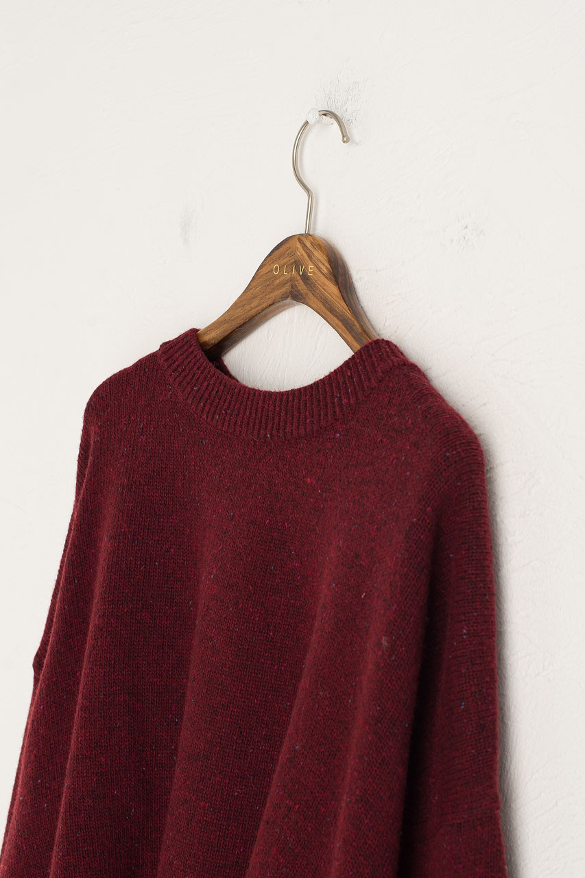 Boucle Round Neck Jumper, Wine